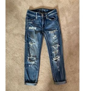 AE distressed crop jeans